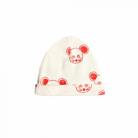 Mini Rodini Mouse AOP Baby Beanie Red