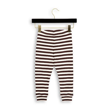 Mini Rodini Stripe Rib Leggings Brown