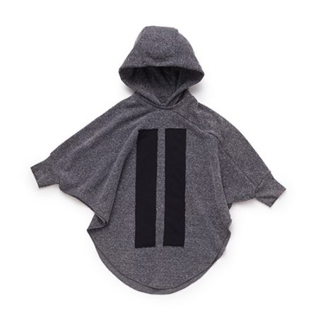 NUNUNU HOODED BAT TOP CHARCOAL
