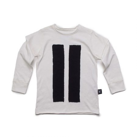 NUNUNU STRIPED PATCH T-SHIRT WHITE