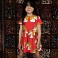 mini rodini unicorn star woven dress red