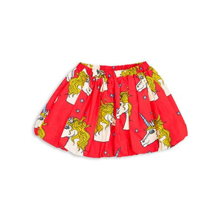 mini rodini unicorn star woven skirt red